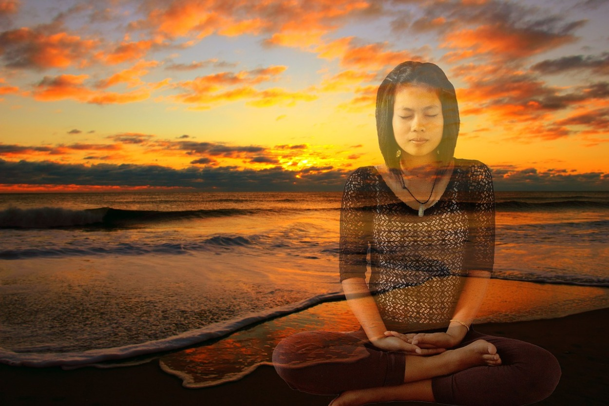 meditating in seated position